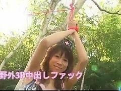 Dirty outdoor threesome with bustyAsuka Ishihara