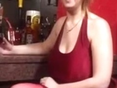 British Redhead Skarlett Strips At The Bar