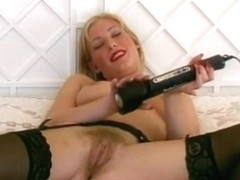 Vintage British MILF Talks Dirty As She Masturbates with Electric Wand