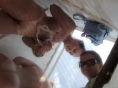 Girls in beach cabin lose off bikini and show tan lines