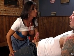 Tranny anal fucks inked dude in bar