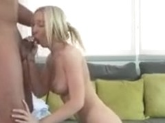 Blonde teen interviewed before hard sex with a cumshot