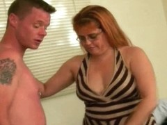 Overweight old woman sucks 2 dicks and acquires facial