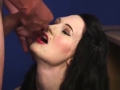 Naughty Stunner Gets Cumshot On Her Face Sucking All The Jui