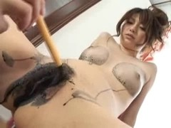 Japanesse babe gets licked dildoed and fucked