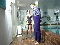 Empress Evil ballbusting in the pool