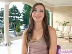 Givemepink brunette Carla Cruz masturbates with huge dildo