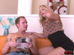 Blonde MILF Simone Sonay gets her ass fucked by her blonde stepson hard rock