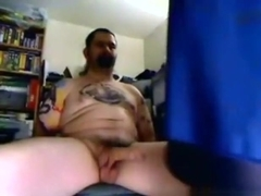 Biker guy gets his cock sucked and ridden on a chair