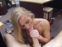 Tight blond bimbo sells her car and fucked in the backroom