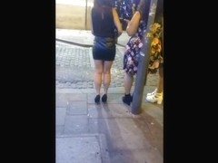 Leather Miniskirt & High Heels on the Street