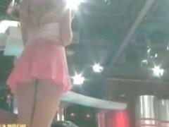 Slutty blonde teen upskirt ass on tv