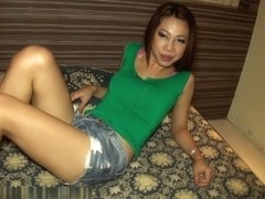 Ladyboy Noi in Jean Shorts Pushed In Creampie