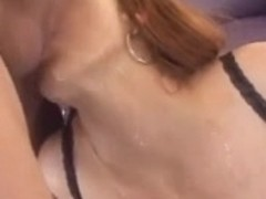 Redhead receives cumshots and does blowjob to her lover