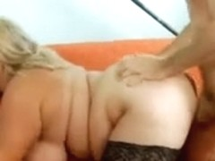 bulky golden-haired in nylons drilled in bald fur pie
