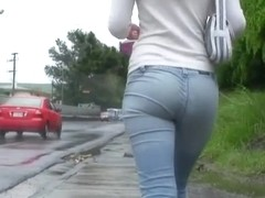 A mesmerizing woman gets her butt filmed on camera