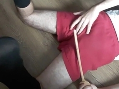 Self spanking in school PE uniform