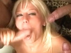 Blonde bitch in a blowjob orgy