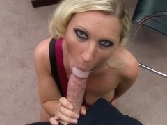 Sexy blonde Devon Lee swallows a huge dick for pleasure