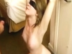 Blindfolded thrall hotwife being fed multiple cum facual cumshots