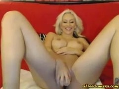 Slutty Blonde GF Toys On Webcam
