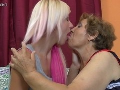 Old lesbo grandmother bonks a cute gal