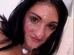 Brunette Hair Acquires Her Face Overspread in Recent Cum