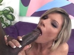 Golden-Haired mother I'd like to fuck goes Darksome and swallows
