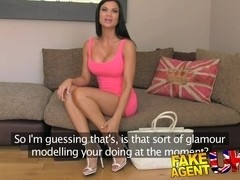 FakeAgentUK: Tanned athletic goddess with beautiful tits gets creampied