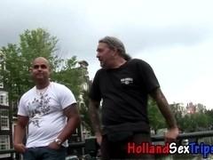 Real hooker in heels sucks cock