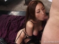 Hot brunette Julia takes part in merciless group action