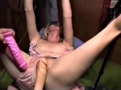 Trailer trash sub - tied to the bench - slowdildo pussy torture