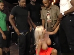 Buxom blonde bukkaked sucking dicks