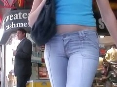 Sweet ass brunette in flip flops street candid video
