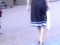Slam Asian babe gets a skirt sharking in a public place.