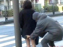 Japanese street sharking video showing a cute schoolgirl
