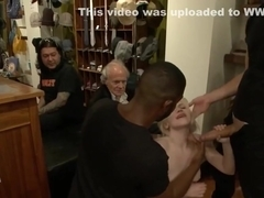 Blonde in public interracial gangbang
