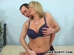 Busty amateur mom sucks and fucks with facial