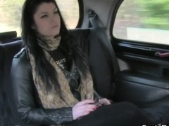 Natural breasty dilettante fucking in fake taxi