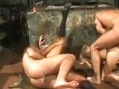 Two blondes in a hard group fuck