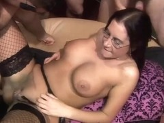 Group fucking and cumming into Emmas face hole