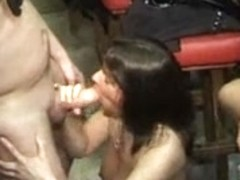 Naughty swingers fuck hard during a party
