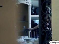 Stepmom Alyssas surprise caught blowjob scene with Alinas bf