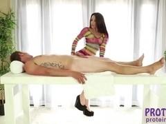 Tattooed brunette Lola Foxx rubs Van Wylde hard cock in the milking table
