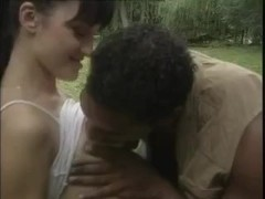Interracial anal sex in the woods with a large dark shlong