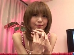 Amateur, Ria Sakurai, blows while having another cock in her twat
