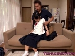 Japanese teen pussyfucked while in uniform