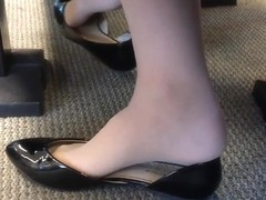 Candid US College Teen Shoeplay Feet Dangling in Nylons PT 4