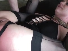 Voluptuous babe lets a maledom spit on her face and fuck her