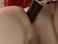 Redhead trans babe dominated with strapon